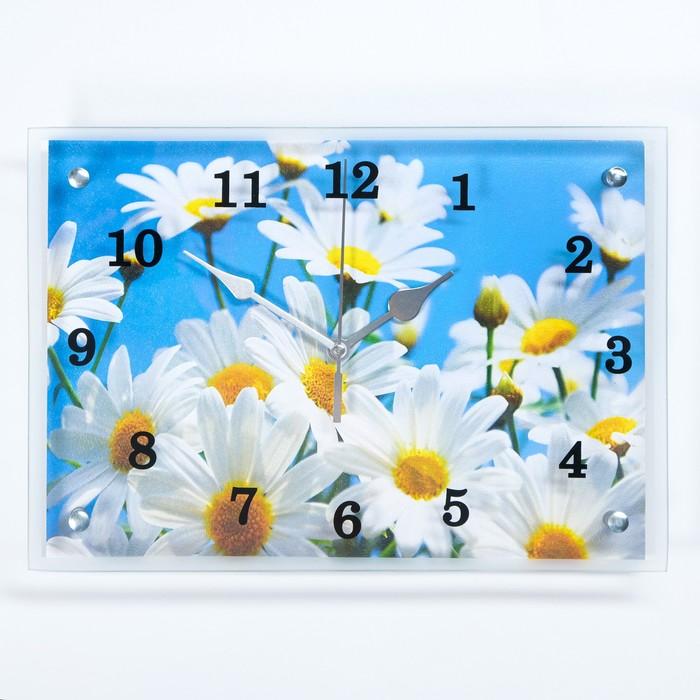"""Часы настенные прямоугольные """"Ромашки"""", 25х35 см"""