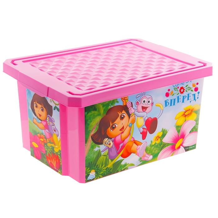 """Ящик для игрушек """"Даша Путешественница"""", 17 л, с крышкой, цвет розовый"""