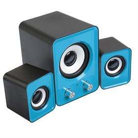 2.1 speaker system LuazON, 2*1.5 W, 13W subwoofer, 3.5/Jack/USB, 80 dB, blue