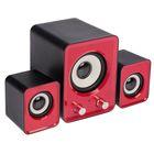 Акустическая система 2.1 Luazon, 2*1.5 и 13 Вт, 3.5 Jack/USB, 80 дБ, красная