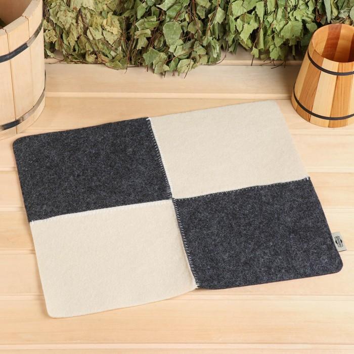 Коврик для бани и сауны «Шахматы», серо-белый, 50 × 20 см