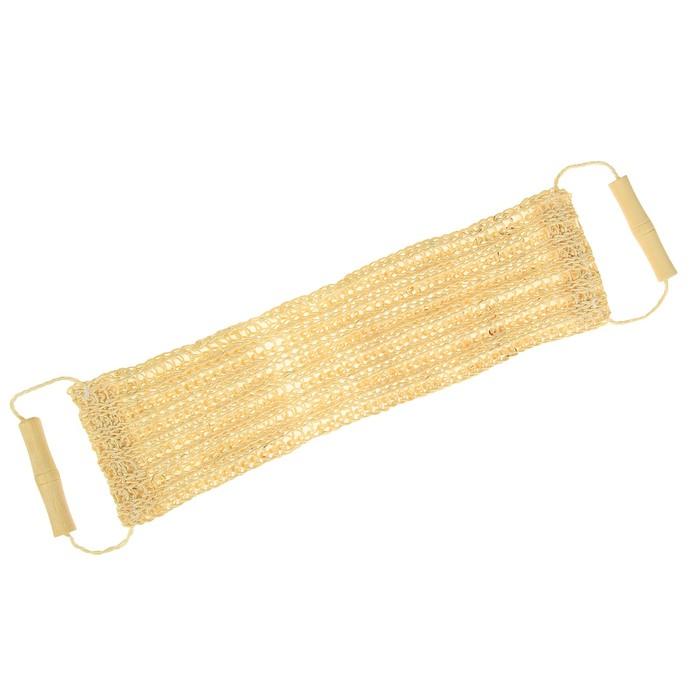 Мочалка длинная с деревянными ручками, сизаль