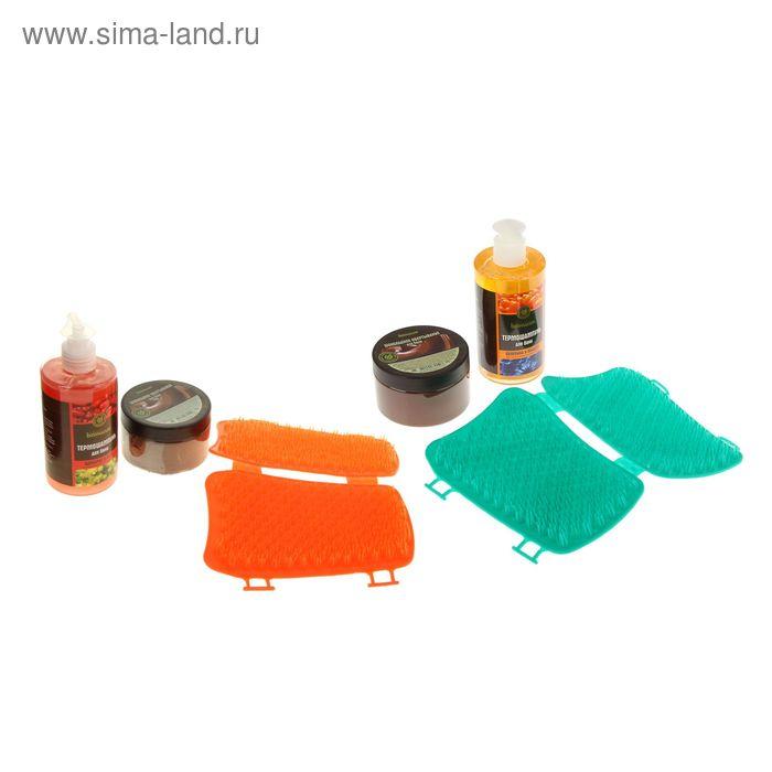Набор косметический для бани сауны  (шампунь, массажер, крем-обертывание)