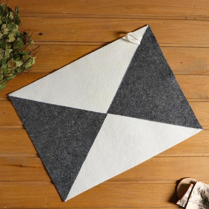 Коврик для бани и сауны «Ромб», серо-белый, 50 × 20 см