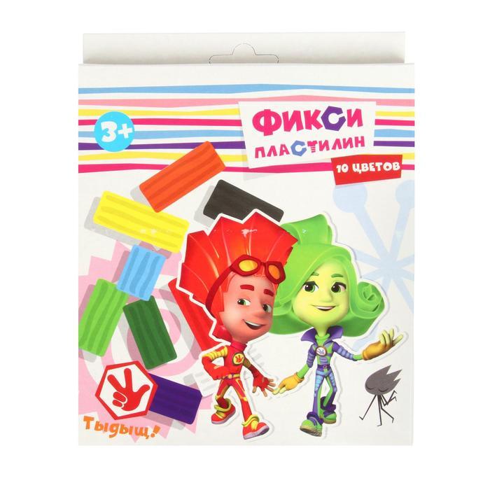 """Пластилин 10 цветов 200 г """"Фиксики"""", пластиковый стек"""