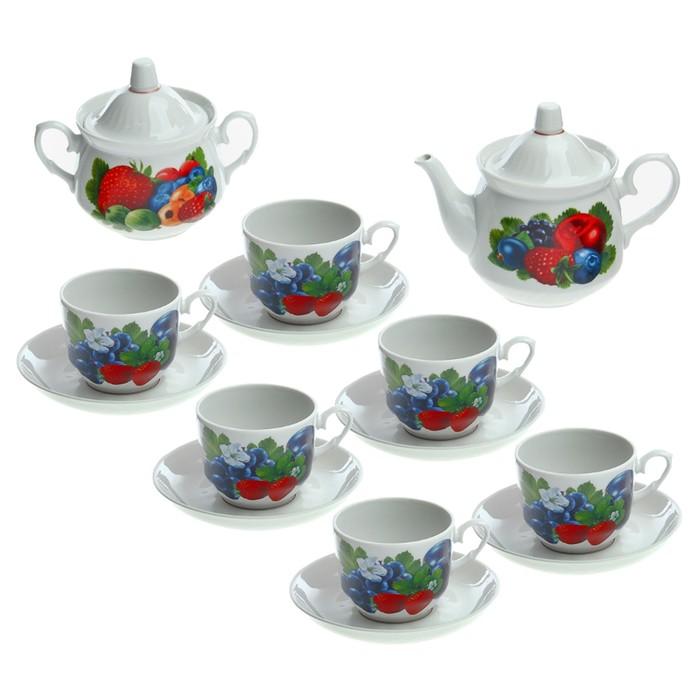"""Сервиз чайный """"Ассорти сборная"""", 14 предметов: 6 кружек 250 мл, чайник 600 мл, сахарница 500 мл"""