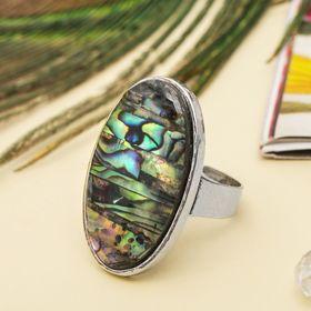 """Кольцо """"Галиотис"""" овал, цвет зелёный, безразмерное"""