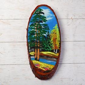 """Панно на спиле """"Осень"""", 40 см, каменная крошка, вертикальное, микс"""