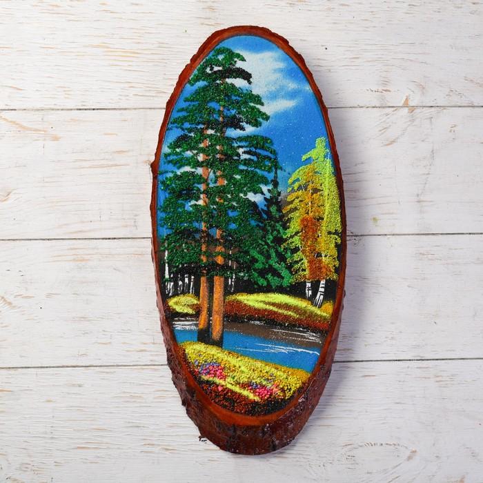 """Панно на спиле """"Осень"""", 40 см, каменная крошка, вертикальное"""