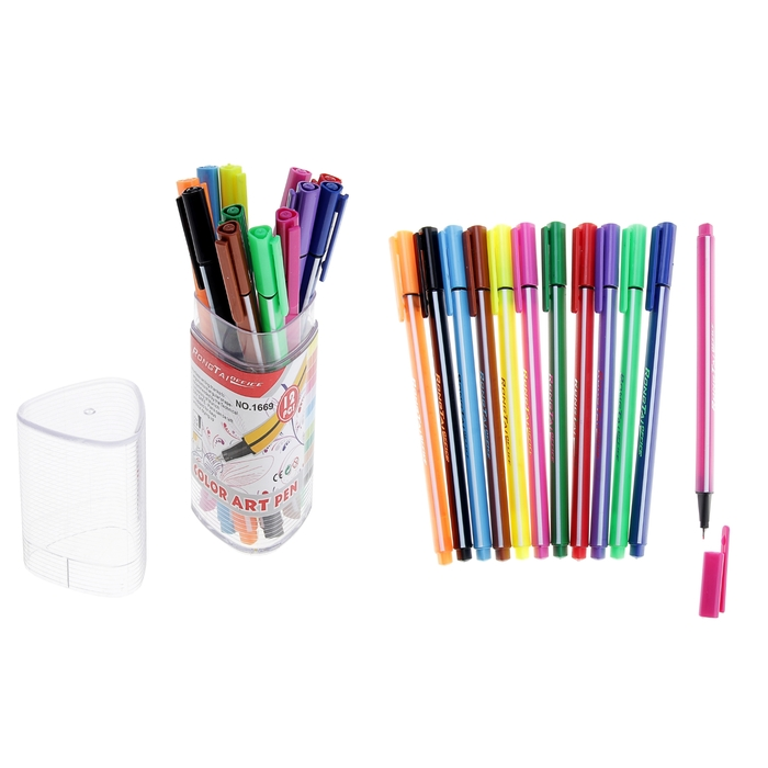 Набор капиллярных ручек, 12 цветов, треугольные, цветной корпус, «Полоски»
