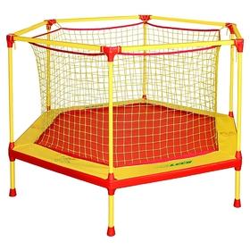 Батут-манеж Leco-IT Home, d=160 см, с внутренней защитной сеткой, жёлтый/красный