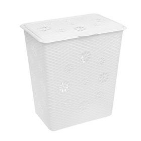 Корзина для белья с крышкой Альтернатива «Плетёнка», 60 л, 34×46×50,5 см, цвет белый