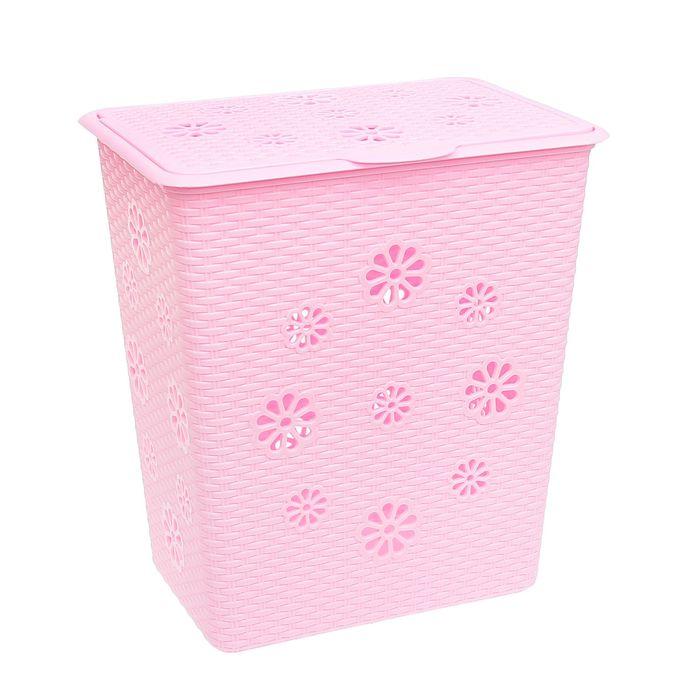"""Корзина для белья 60 л """"Плетенка"""", цвет розовый"""