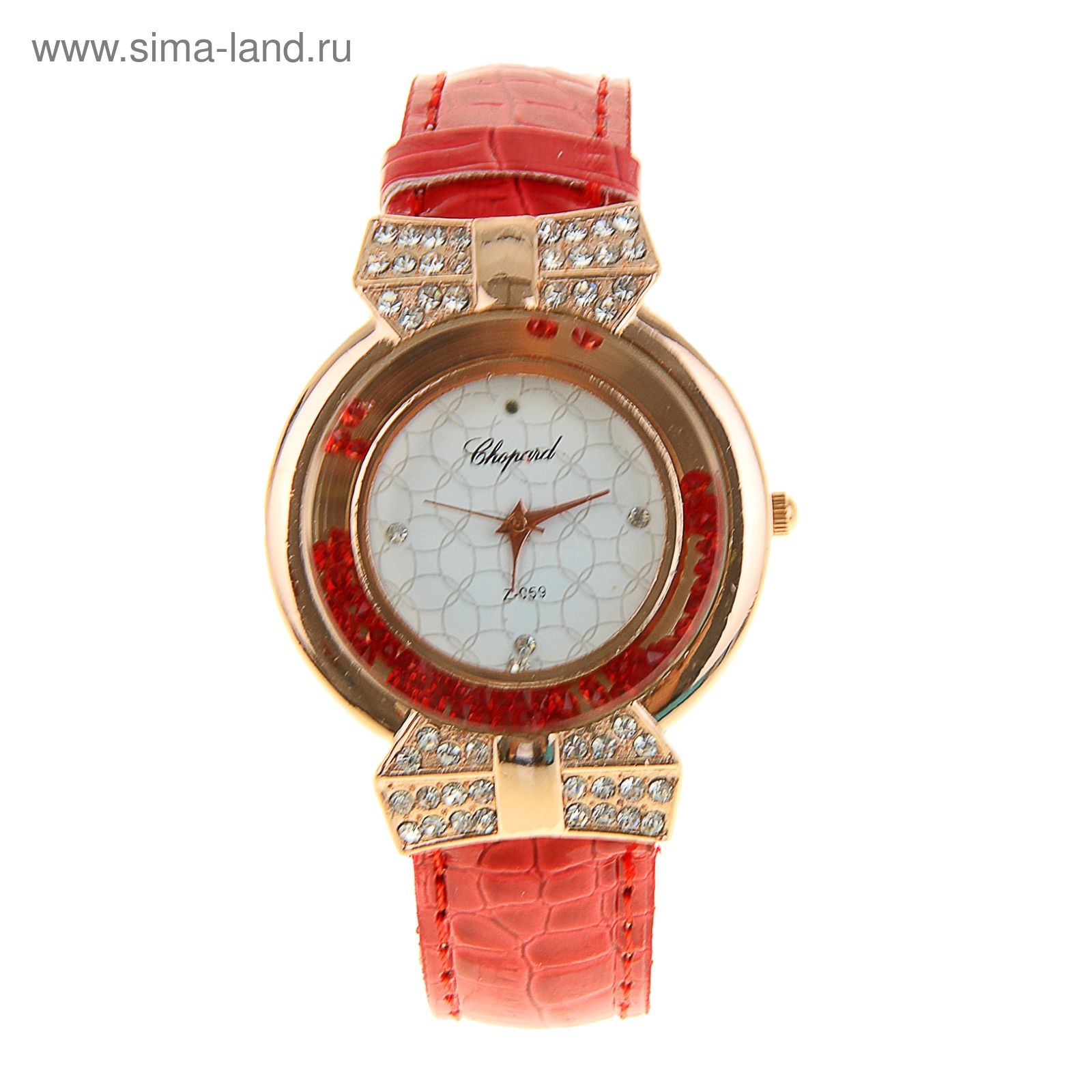 d8c9115c Часы наручные женские Chopard красный ремешок, красные и белые стразы