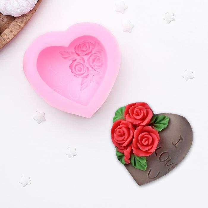 "Молд силиконовый 7х4 см ""Роза в сердце"""