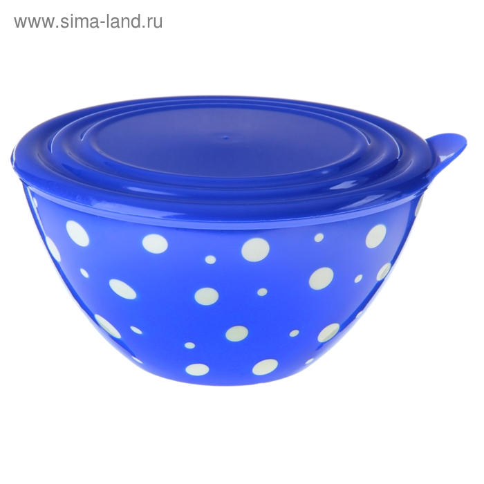 """Салатник с крышкой 1,45 л """"Горошек"""", цвет бело-синий"""