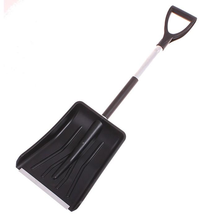 Лопата автомобильная пластиковая, ковш 280 × 370 мм, с металлической планкой, черенок, с ручкой