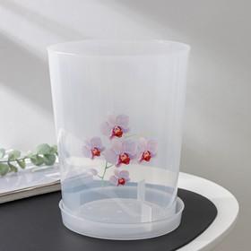 Горшок для орхидей с поддоном, 3,5 л, цвет прозрачный
