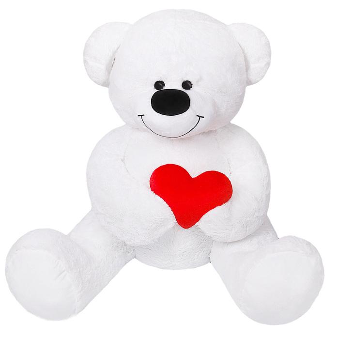 """Мягкая игрушка """"Мишка большой с сердцем"""", цвет белый"""