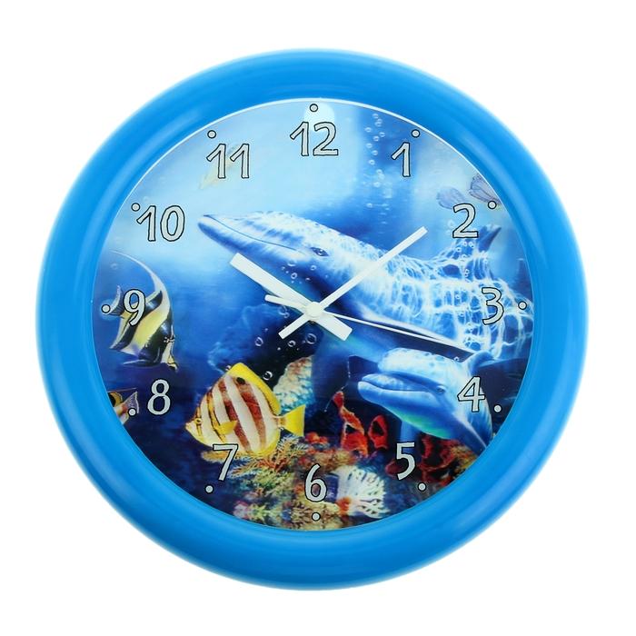 """Часы настенные круглые """"Дельфины"""" 3D"""