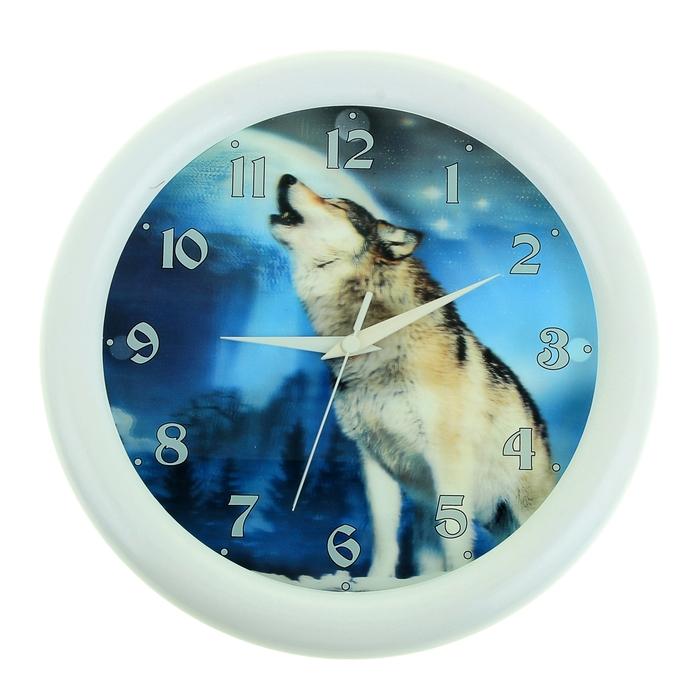 """Часы настенные круглые """"Волк"""" 3D"""