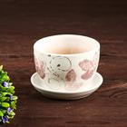 Горшок цветочный Лазурит сиреневый 0,35л с подставкой