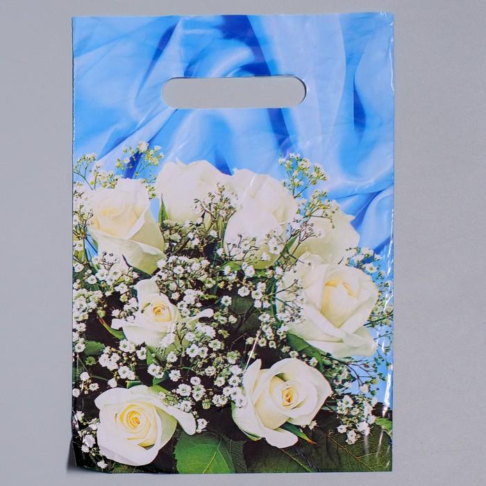 """Пакет """"Букет белых роз"""", полиэтиленовый с вырубной ручкой, 20 х 30 см, 35 мкм"""