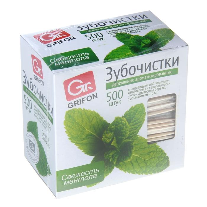 Зубочистки GRIFON в индивидуальной упаковке, с ментолом, 500 шт, береза