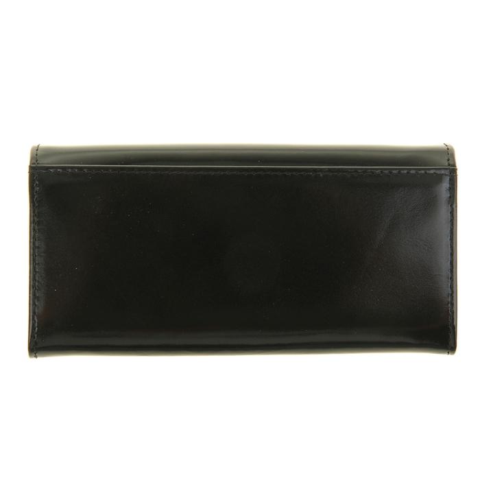 Кошелёк женский на кнопке, 3 отдела для купюр, для монет, для кредитных карт, цвет чёрный