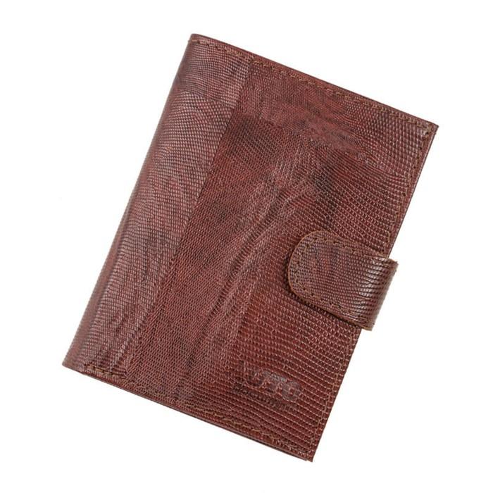 Портмоне на кнопке, 1 отдел, отдел для автодокументов, коричневая игуана