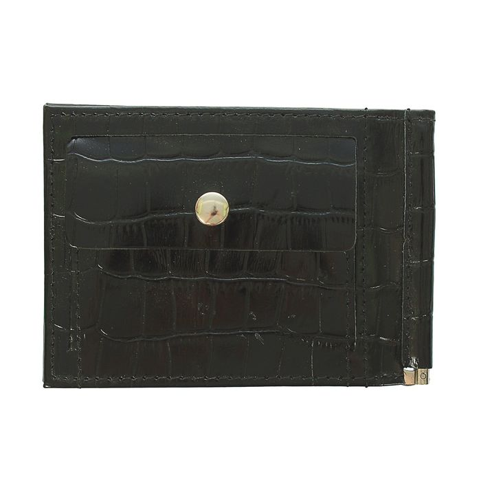 Зажим для купюр, отдел для монет, крокодил, цвет чёрный