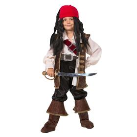 Детский карнавальный костюм «Капитан Джек Воробей», бархат, размер 28, рост 110 см