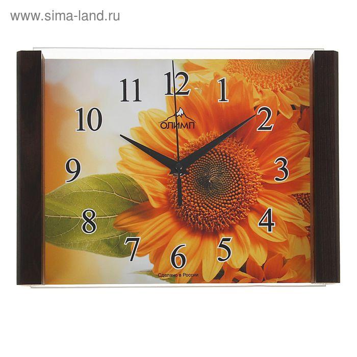 """Часы настенные прямоугольные """"Олимп"""" оранжевый цветок"""