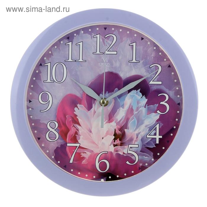 """Часы настенные круглые """"Цветок"""", сиреневые"""