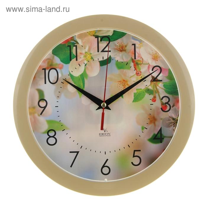 """Часы настенные круглые """"Цветы"""", бежевые"""