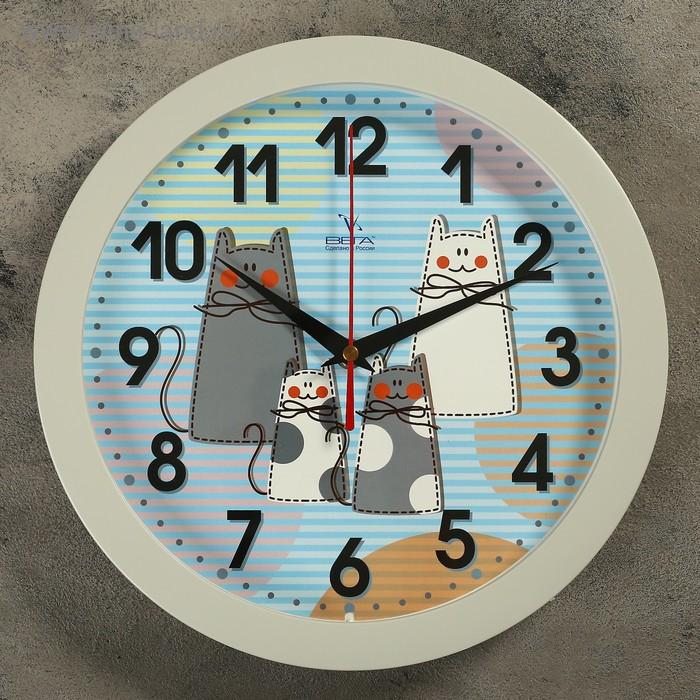 """Часы настенные круглые """"Кошки"""" детские, серые"""