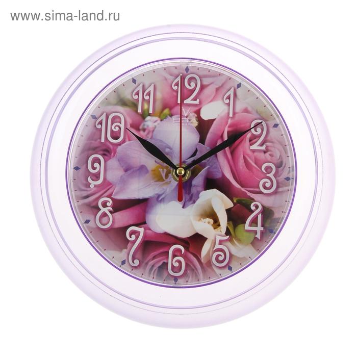 """Часы настенные круглые """"Цветок"""" сиреневые"""