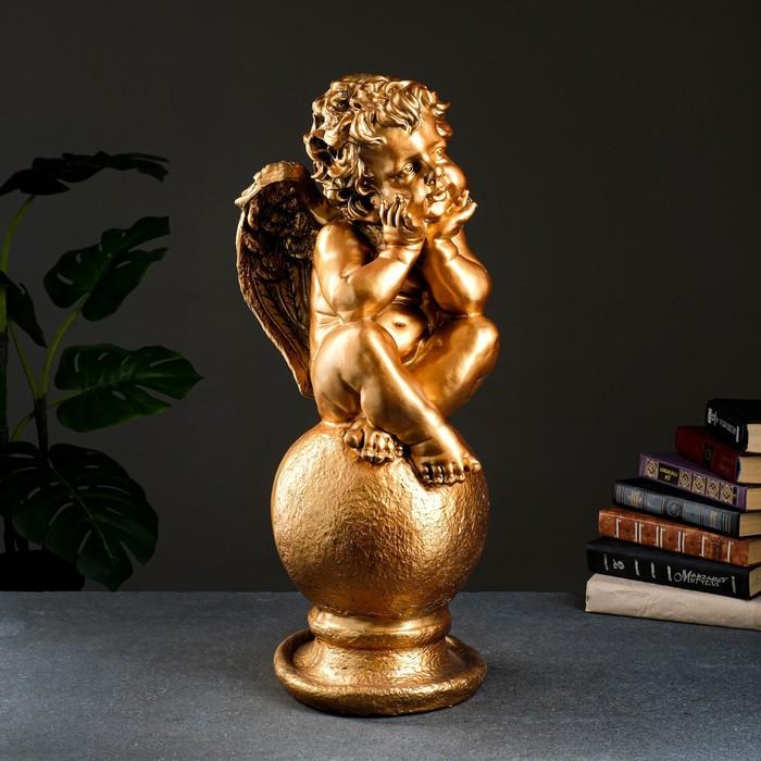 """Фигура """"Ангел на шаре"""" большой бронза 22х22х65см"""