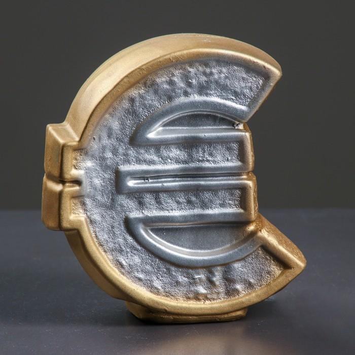 "Копилка ""Евро"" 8х18х20см золото серебро"