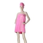 компл./сауна Fiesta жен. розовый (юбка 70*140см, чалма для волос) махра, 480 гр/м