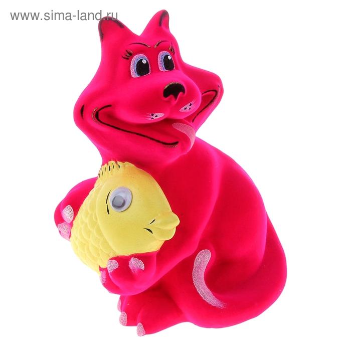 """Копилка """"Кот с рыбой"""" флок, розовая"""
