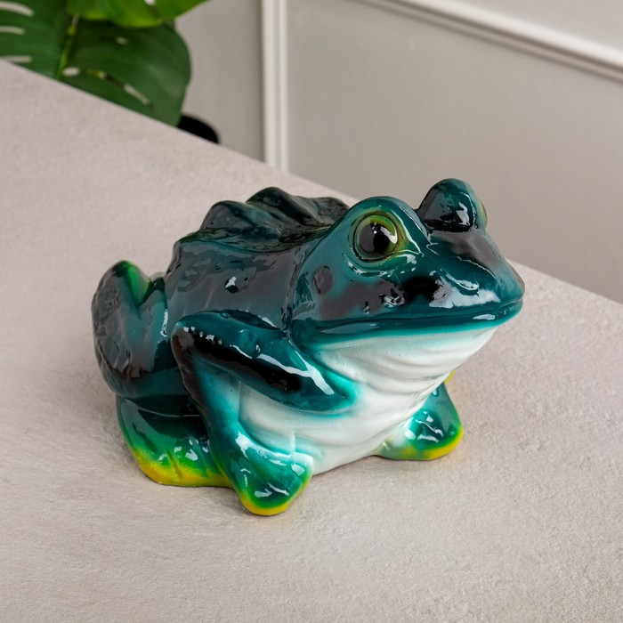 "Копилка ""Лягушка"", зелёный цвет, глянец, 18 см"