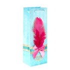 Пакет ламинированный под бутылку с тиснением «От всей души», 13 × 36 см
