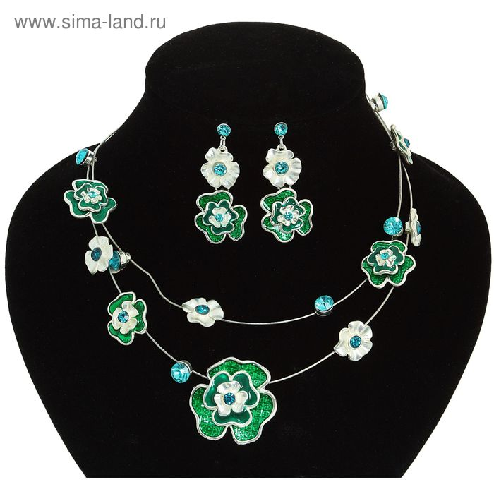 """Набор 2 предмета: серьги, колье """"Цветочная невесомость"""", цвет зеленый"""