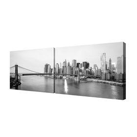 "Модульная картина на подрамнике ""Мост на Манхэттен"", 2 шт. — 50×75 см, 150x50 см"