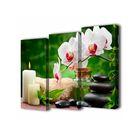 """Модульная картина на подрамнике """"Орхидеи у свечей"""", 3 шт. — 50×100 см, 150x100 см"""