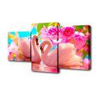 """Модульная картина на подрамнике """"Пара лебедей и розовые цветы"""", 26×50, 26×40, 26×32, 50×80 см"""