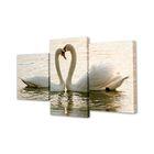 """Модульная картина на подрамнике """"Пара лебедей"""", 26×50 см, 26×40 см, 26×32 см, 50×80 см"""
