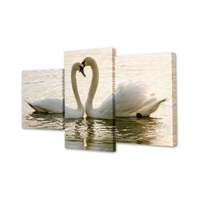 "Картина модульная на подрамнике ""Пара лебедей"" 26х50см; 26х40см; 26х32см     50х80 см"