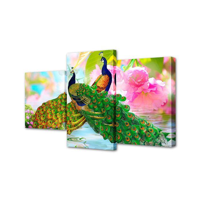 """Модульная картина на подрамнике """"Пара павлинов"""", 26×50 см, 26×40 см, 26×32 см, 50×80 см"""